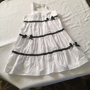 NWT PINKY Girl's White Dress with Polka Dot Trim